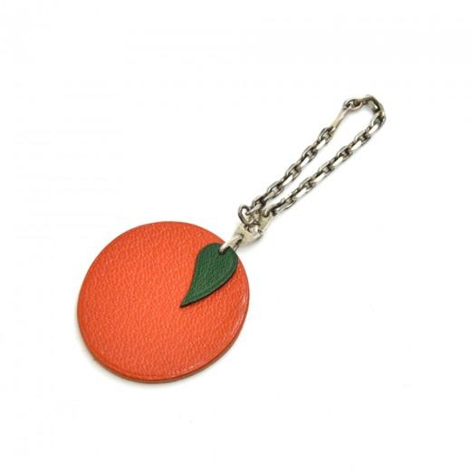 Hermes Orange Leather Bag Charm