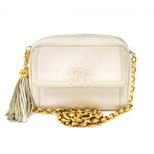 Vintage Chanel CC Pocket & Tassel Charm White Lamb...