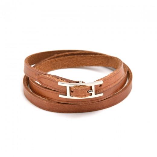 Hermes Hapi III Brown Leather Silver Tone H Logo W...
