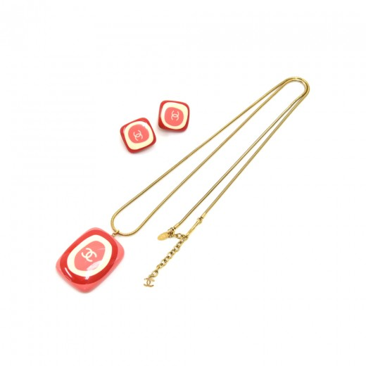 Chanel Retro Style Pink & Red  CC Logo Resin Recta...