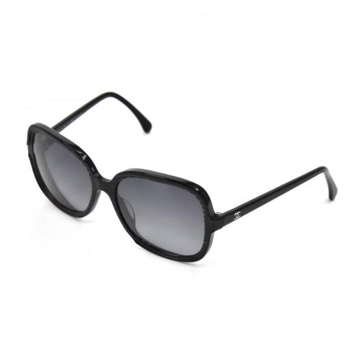 Chanel Black Striped Glitter Polarized Oversized S...