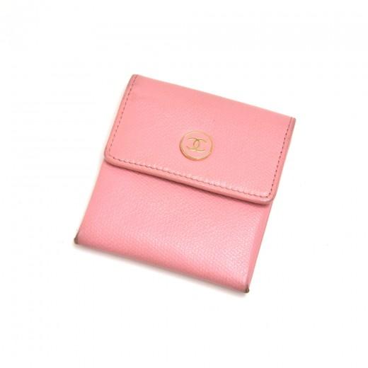 Chanel Pink Calfskin Leather Enamel CC logo Button...