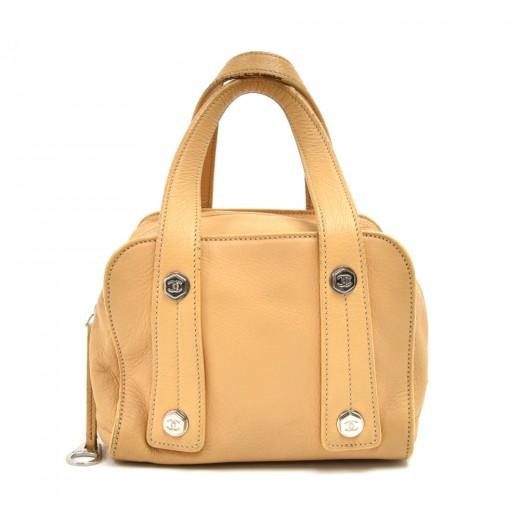 Chanel Beige Hexagonal Bolt Calfskin Leather Small...