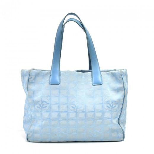 Chanel Travel Line Light Blue Jacquard Nylon Mediu...
