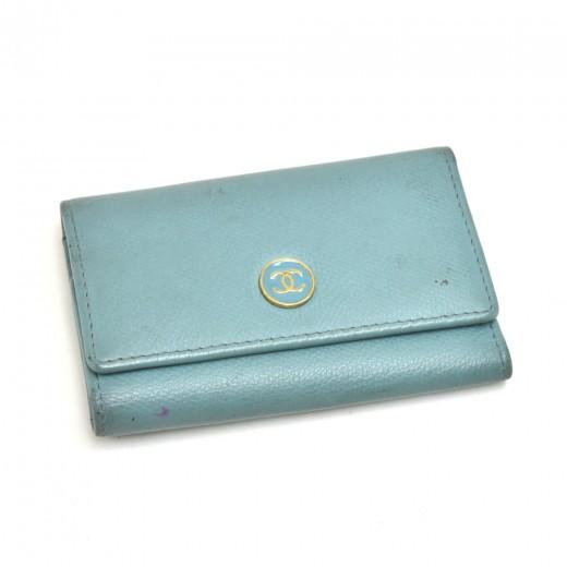 Chanel Light Blue Leather CC Logo Key Case