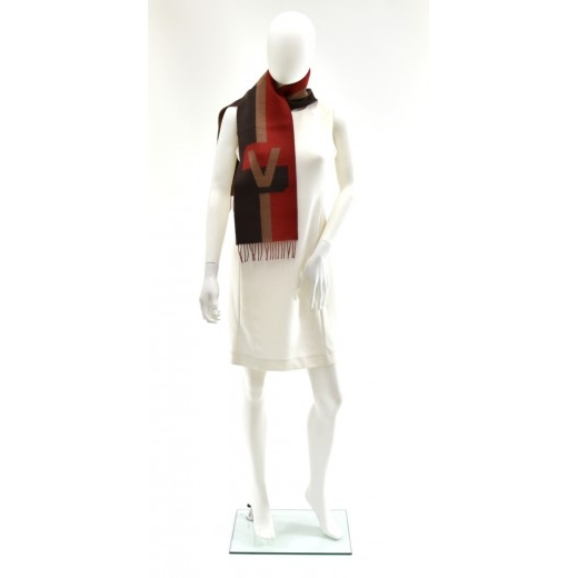 Louis Vuitton Striped Tricolor Red Wool & Cashmere Blend Scarf