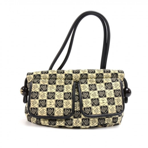 Chanel Beige & Black Canvas Camellia Check Pattern...