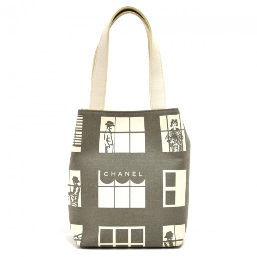Chanel Coco Window Grey & White Canvas Tote Bag
