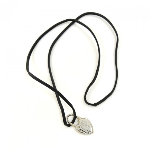 Hermes Vive L'idée Heart shaped Silver Cadena Pendant Black Leather String Necklace