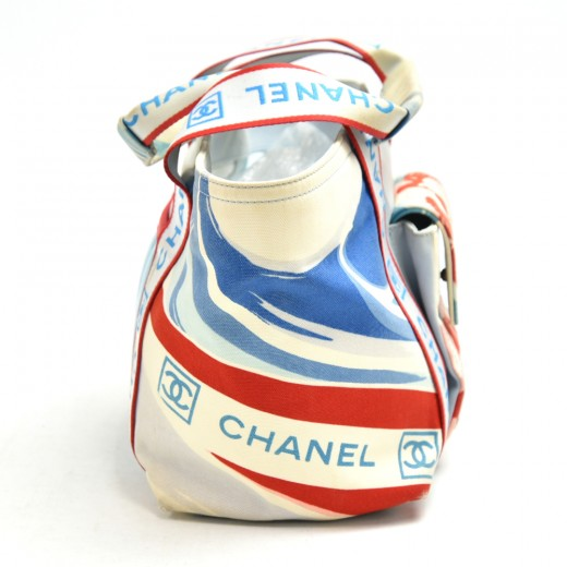 Chanel Sports Line Tricolor Blue/White/Red Canvas Small Tote Bag-Limited Ed