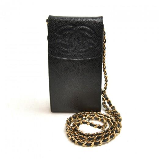 Vintage Chanel Black Caviar Leather CC Logo Chain ...