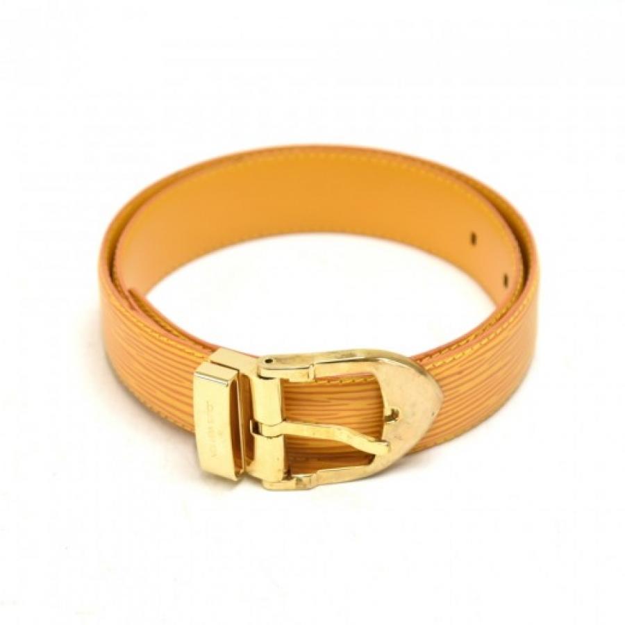 Vintage Louis Vuitton Yellow Epi Leather Ceinture Classique Belt Gold Tone Hardware