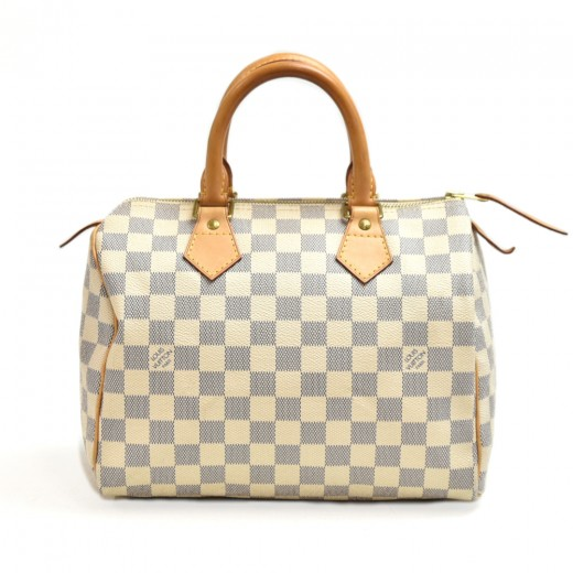 Louis Vuitton Speedy 25 White Damier Azur Canvas C...