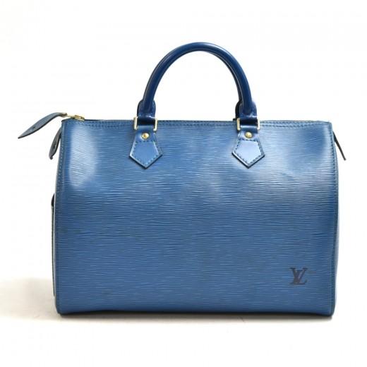 Vintage Louis Vuitton Speedy 30 Blue Epi Leather C...