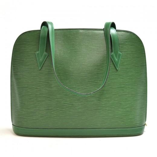 Vintage Louis Vuitton Lussac Green Epi Leather Large Shoulder Bag
