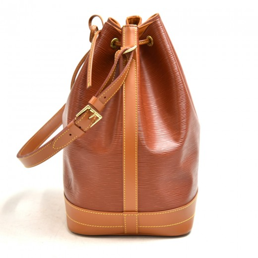 Vintage Louis Vuitton Noe Large Brown Bicolor Epi Leather Shoulder Bag