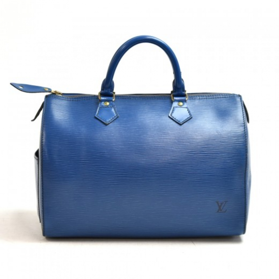 Vintage Louis Vuitton Speedy 30 Blue Epi Leather City Handbag