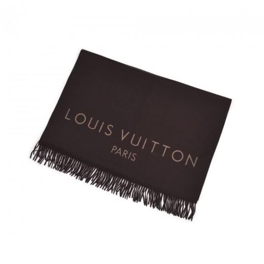 Louis Vuitton Brown Cashmere Logo Design Stole Sca...