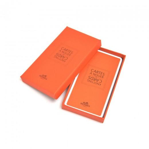 Hermes Chemins de Corail by Anne Faivre Yellow Silk Scarf 90 & Knotting Cards Set