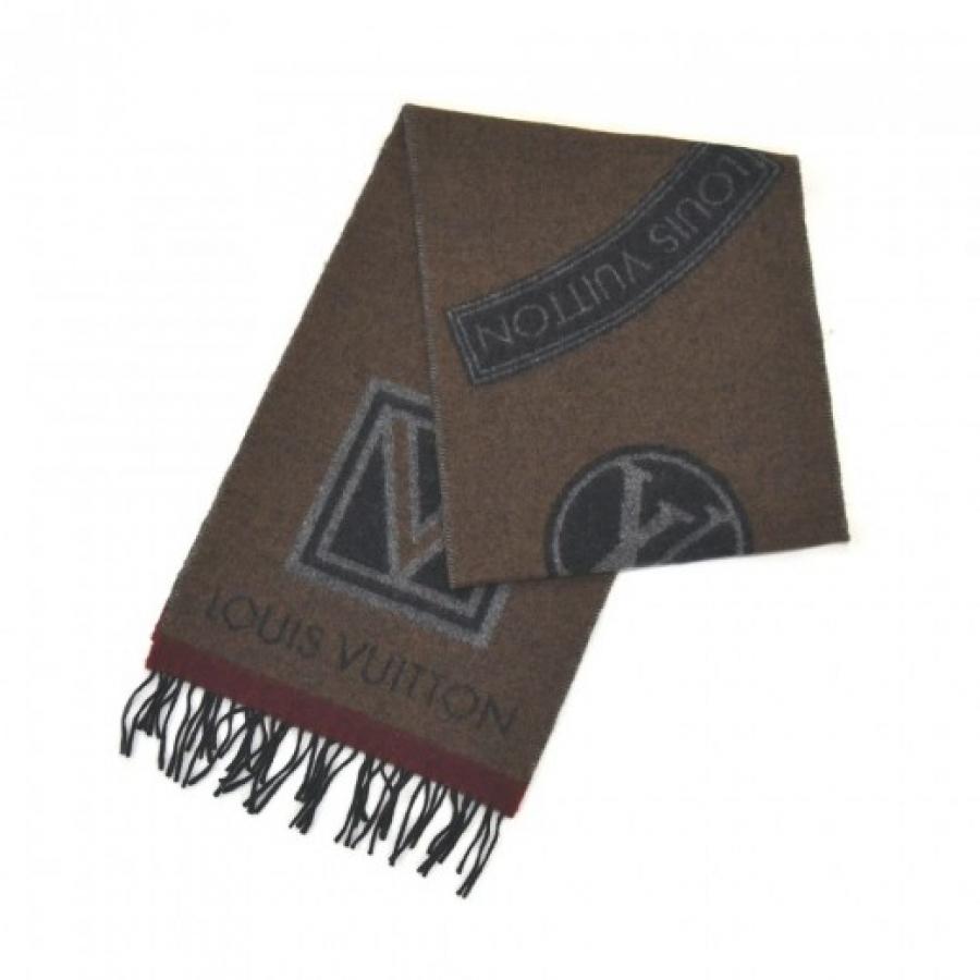 Louis Vuitton Echarpe LV Stickers Logo Brown Wool & Cashmere Blend Scarf