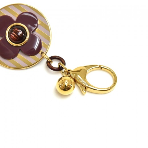 Louis Vuitton Rayures Purple Monogram Flower Gold-Tone Keychain / Bag Charm