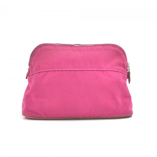 Hermes Trousse Bolide 25 & 15 Set of 2 Fuchsia Cotton Cosmetic Travel Pouch
