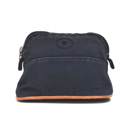 Hermes Trousse Bolide 15 Navy Cotton Cosmetic Trav...
