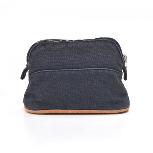 Hermes Trousse Bolide 15 Navy Cotton Cosmetic Travel Pouch