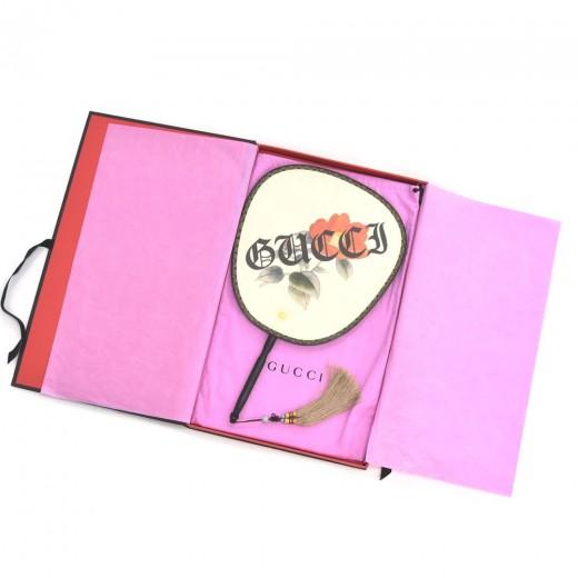 Gucci Modern Future Gothic Silk  Fan with Tassel Red Camellia Design + Box- Rare
