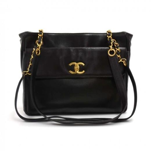 Vintage Chanel Black Lambskin Leather Front Pocket...