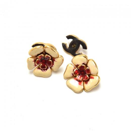 Chanel Red x Gold Tone Flower Motif Stud Earrings