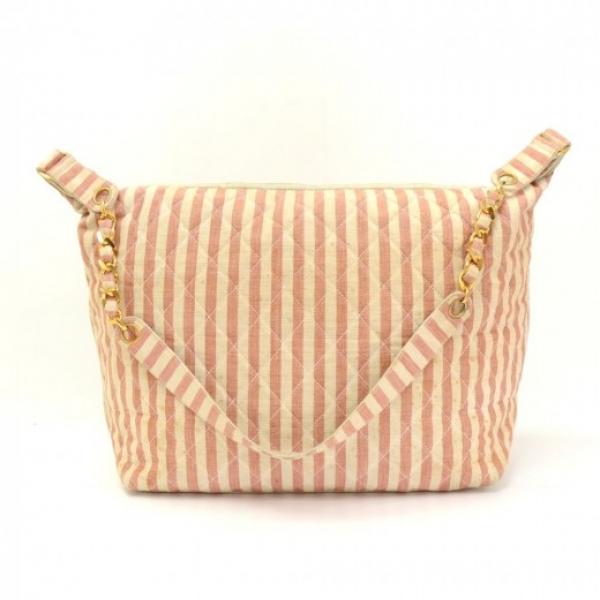 Chanel Pink x Beige Stripe Canvas Large Shoulder T...