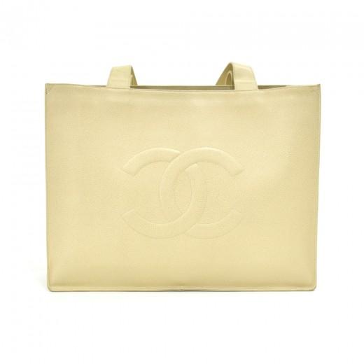Vintage Chanel Jumbo XLarge Ivory Caviar Leather T...