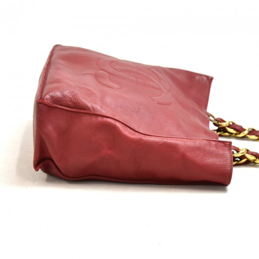Chanel Jumbo XL Red Lambskin Leather Shoulder Shopping Tote Bag