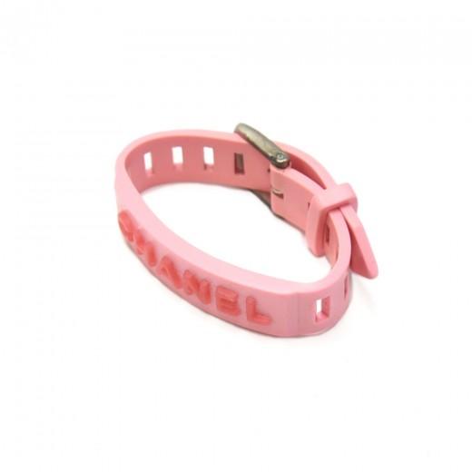 Vintage Chanel Pink Logo Rubber Buckle Bracelet