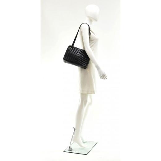 Vintage Chanel Black V Stitched Lambskin Leather Shoulder Bag