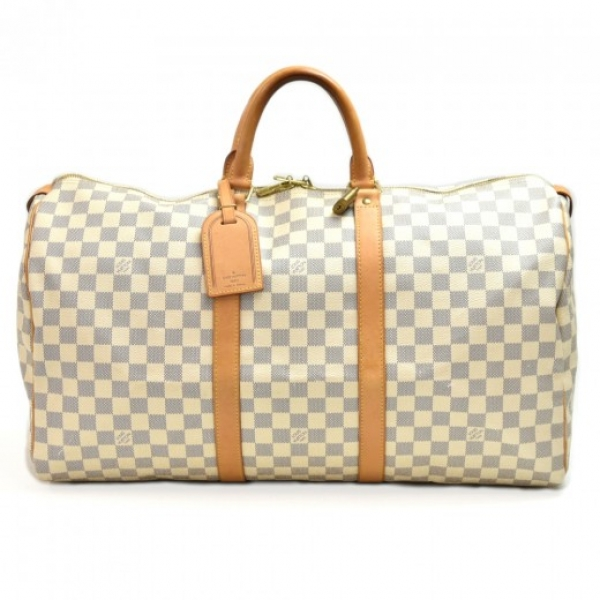 Louis Vuitton Keepall 50 White Damier Azur Canvas ...