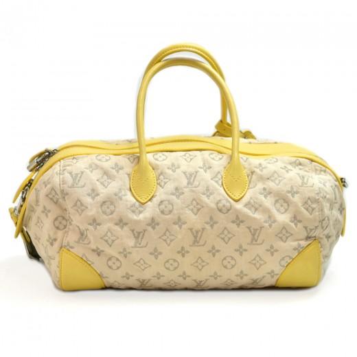 Louis Vuitton Denim Speedy Round PM Yellow Leather 2Way Bag + Strap - 2012 Limited