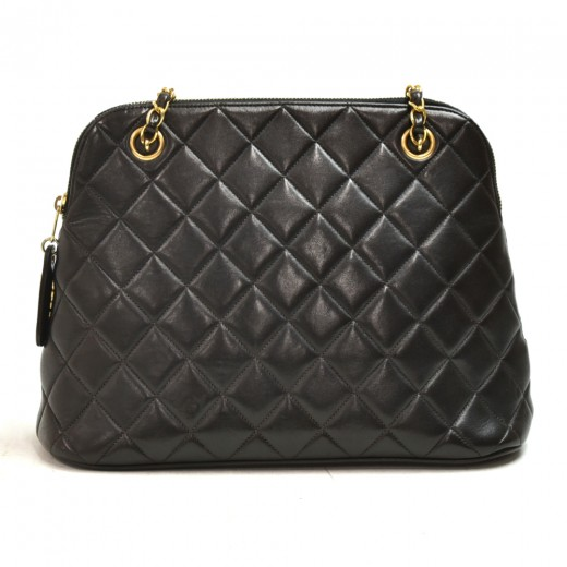 Vintage Chanel Mini Black Quilted Lambskin Leather Chain Shoulder Bag