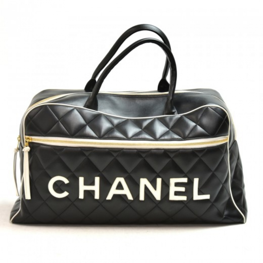 Chanel Signature Black Quilted Calfskin Boston Travel Bag
