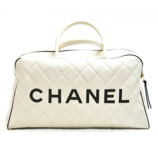 Chanel Signature White Quilted Calfskin Boston Travel Bag