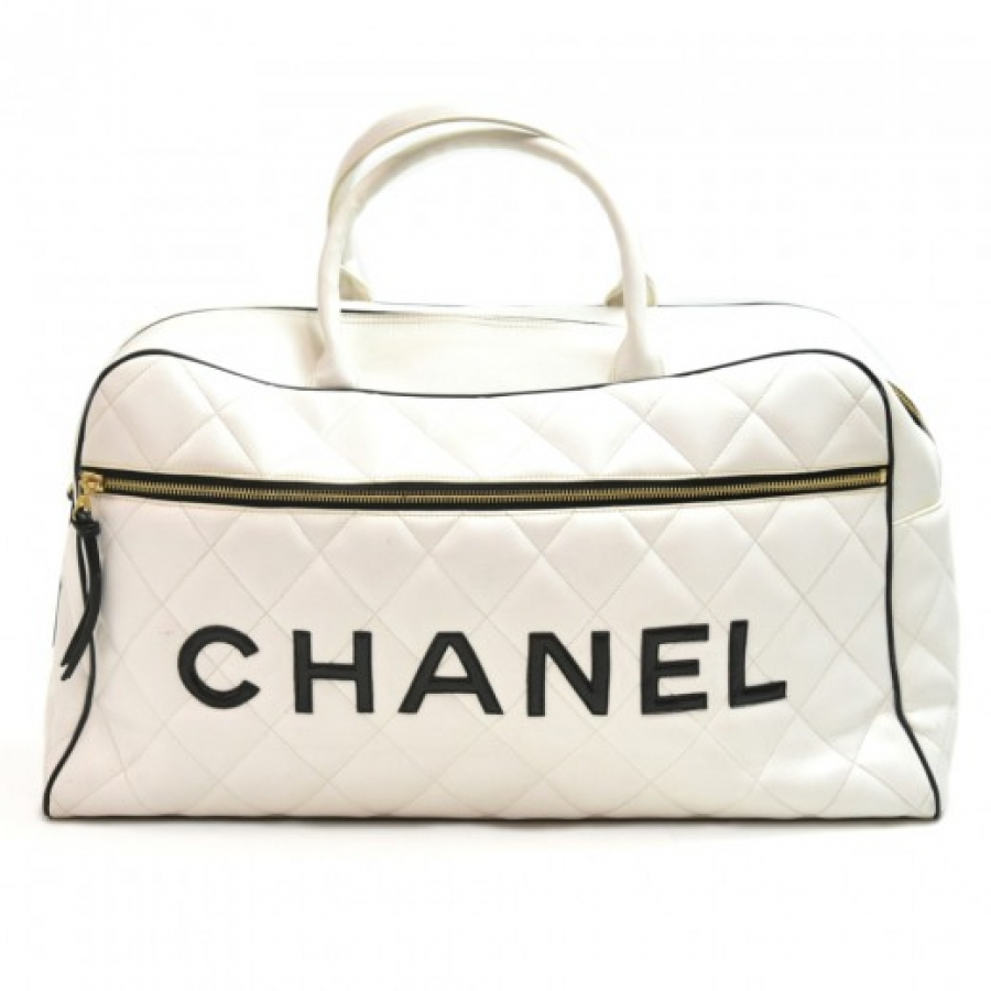 Chanel Signature Line White Quilted Calfskin Boston Travel Bag